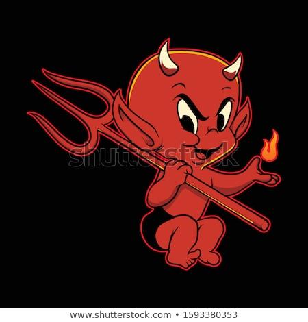 Gelukkig cartoon duivel iconen uitdrukkingen Stockfoto © cthoman