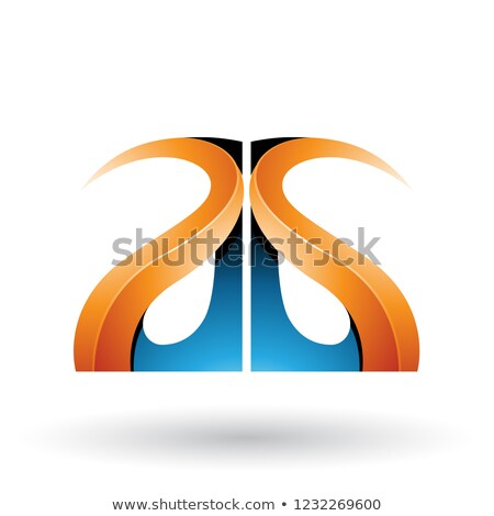 Orange and Blue Glossy Curvy Embossed Letters A and G Vector Ill Stock photo © cidepix
