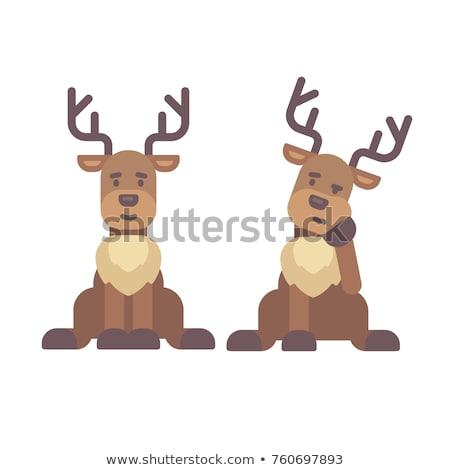 Stok fotoğraf: Sevimli · geyik · oturma · aşağı · Noel · karakter