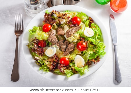 Green salad with chicken liver Stock photo © zoryanchik