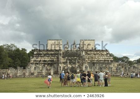 Columns Mayan Chichen Itza Mexico ruins in rows Stock photo © lunamarina