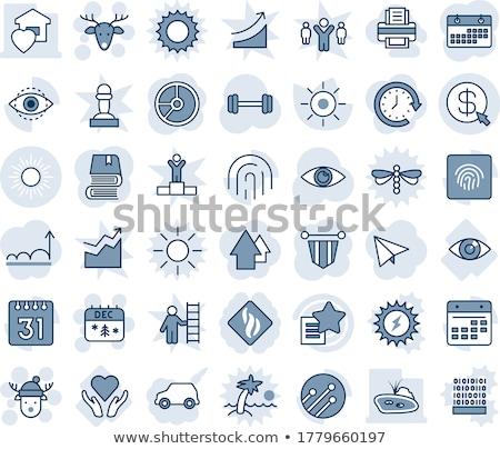 Human eye icon set with shade on circles Stock photo © Imaagio