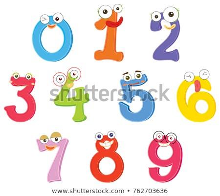 Aantal nul negen gezichtsuitdrukkingen illustratie gelukkig Stockfoto © colematt