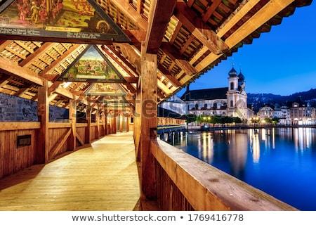 Wieczór widoku słynny rzeki centralny Szwajcaria Zdjęcia stock © xbrchx