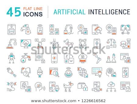 Robots concept - line design style icons set Stock photo © Decorwithme