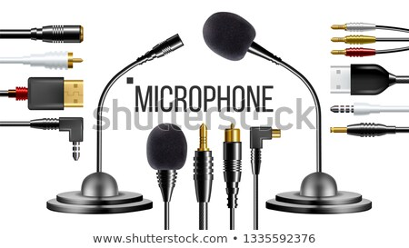 Mikrofon ubrania głos wektora wywiad podpisania Zdjęcia stock © pikepicture