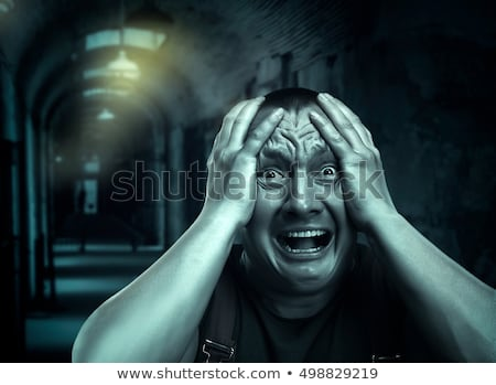 angstig · man · gezicht · nerveus · jonge · man · mensen - stockfoto © kurhan