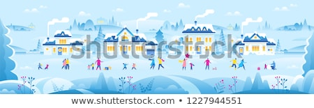 Foto stock: Inverno · decorado · cartão · cidade · flocos · de · neve · vetor