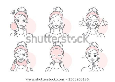 vector of woman squeezing acne Foto stock © olllikeballoon