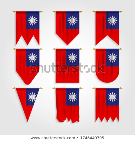 Taiwan Various Shapes Vector National Flags Set Zdjęcia stock © pikepicture