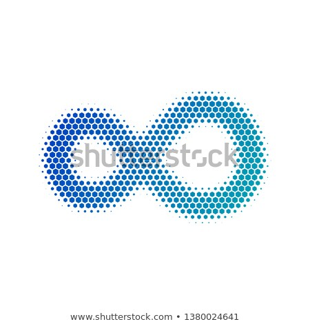 Hexagon Infinity symbol in halftone. Dotted illustration isolated on a white background.Vector illus Stock photo © kyryloff