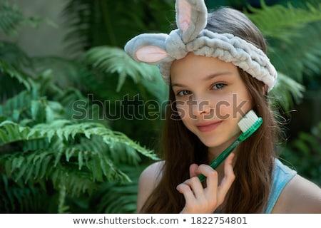 Stock fotó: Portré · aranyos · lány · vicces · arc · mosoly · görögdinnye