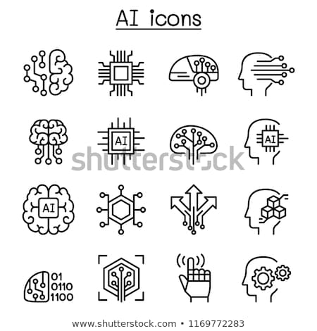 artificial intelligence vector thin icons set stock photo © pikepicture