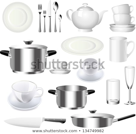 table serving with ceramic and glass dishes vector stock photo © robuart