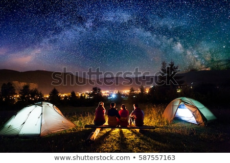Camping bergen natuur tent vreugdevuur Stockfoto © robuart
