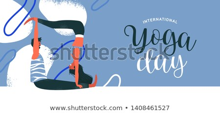 Yoga Day card of happy couple exercising Stock photo © cienpies