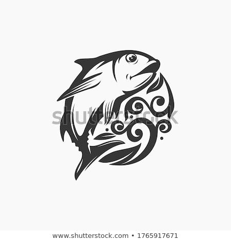 Retro fisher silhouette logo Stock photo © barsrsind