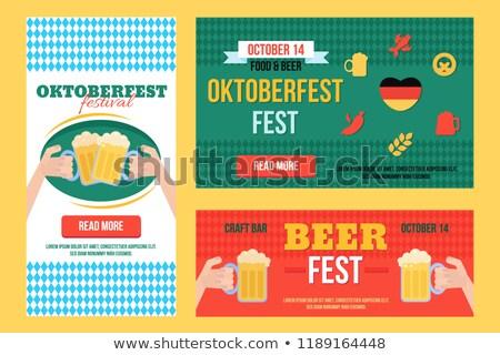 Elegancki oktoberfest banery zestaw żywności pić Zdjęcia stock © barsrsind