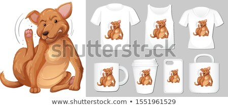 Graphic of brown dog on different types of product template Stock photo © bluering