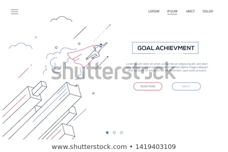 Business hero - modern isometric vector web banner Stock photo © Decorwithme