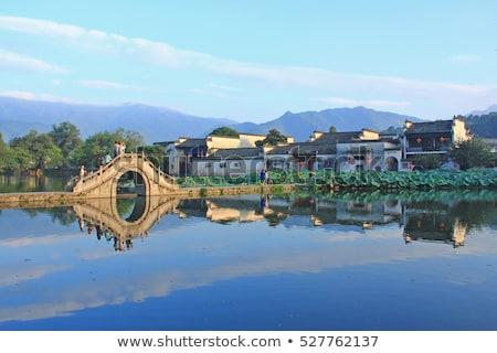 村 古い 中国 黒白 橋 ストックフォト © craig