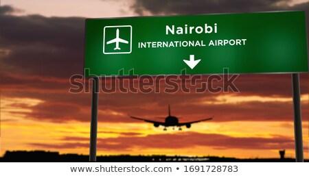Kenia znak autostrady zielone Chmura ulicy podpisania Zdjęcia stock © kbuntu