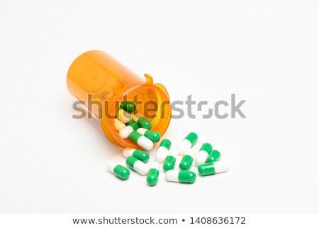 Medicina fora abrir feliz pílula garrafa Foto stock © posterize