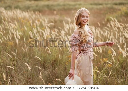 Kız açık portre gün batımı güneş ışığı küçük Stok fotoğraf © wildman