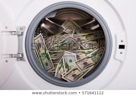 pénz · mosógép · izolált · fehér · üzlet · zöld - stock fotó © hofmeester