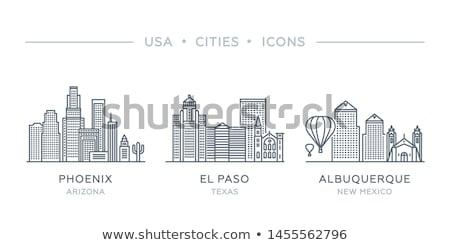 漫画 · スカイライン · シルエット · 市 · テキサス州 · 米国 - ストックフォト © blamb
