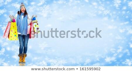 gelukkig · meisjes · sneeuwvlokken · twee · vrouwen - stockfoto © dolgachov