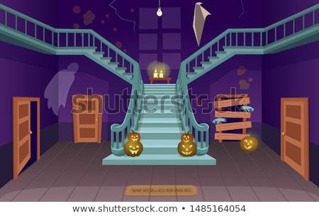 Koszos halloween tök kisértetjárta ház sugarak arc Stock fotó © WaD
