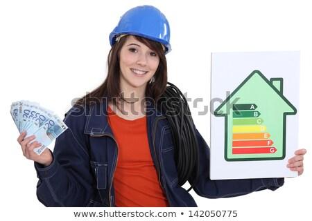 Elektrikçi nakit enerji imzalamak yeşil Stok fotoğraf © photography33