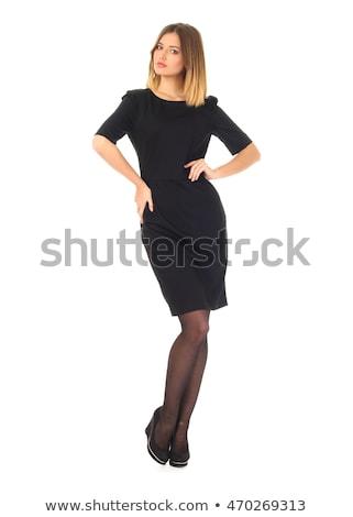 Nice dziewczyna czarny legginsy odizolowany biały Zdjęcia stock © acidgrey