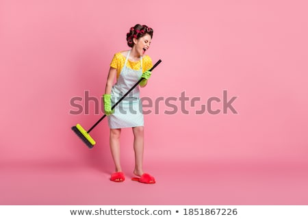 pretty young woman with a besom stock photo © acidgrey