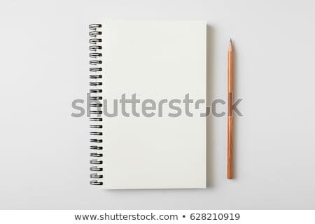 Açmak masaüstü defter kalem yalıtılmış beyaz Stok fotoğraf © tashatuvango