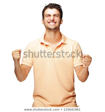 Mosolyog férfi felfelé fehér divat háttér Stock fotó © wavebreak_media
