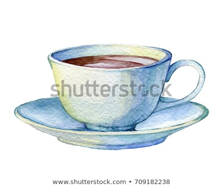 Composition with white cup of coffee and bouquet of roses Stock photo © monticelllo