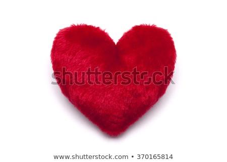 Rood · pluche · hart · witte · geïsoleerd · liefde - stockfoto © jirkaejc