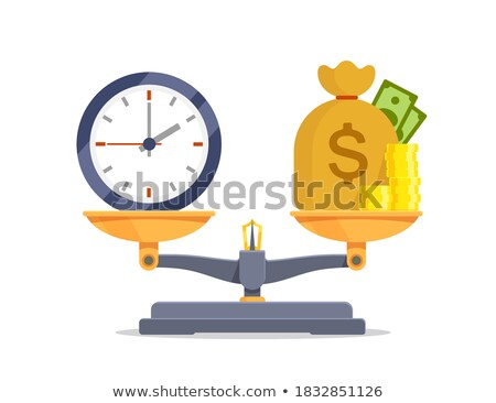 tempo · é · dinheiro · ilustração · balança · tempo · um · lado - foto stock © krabata