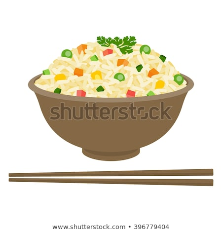 tigela · arroz · camarão · comida · fundo · jantar - foto stock © M-studio