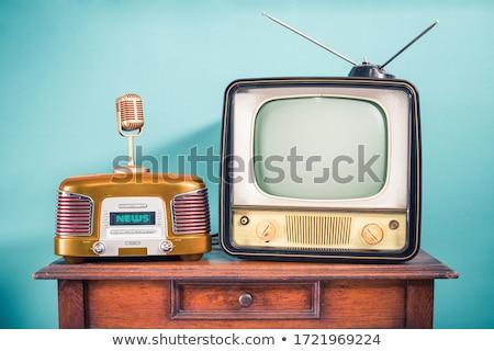 vintage · radio · geïsoleerd · witte · muziek · hout - stockfoto © stevanovicigor