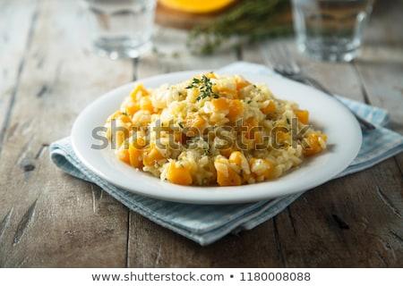Pompoen risotto rijst maaltijd dieet seizoen Stockfoto © M-studio