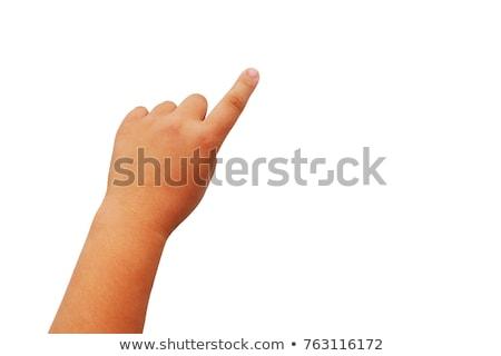 wijzend · hand · schieten · geïsoleerd · witte · man - stockfoto © oly5