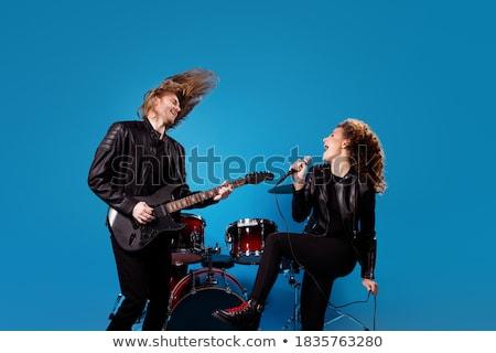 Fiatal pér rocker elektromos gitár csinos nő zene Stock fotó © nenetus