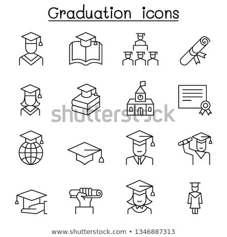 卒業 アイコン ベクトル セット コンピュータ 図書 ストックフォト © vectorpro
