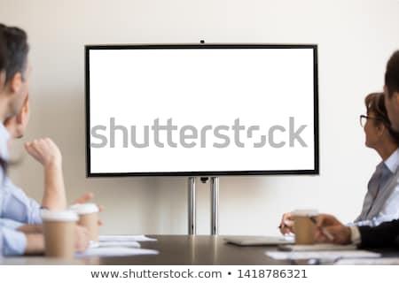 Stock photo: Empty presentation flipchart board