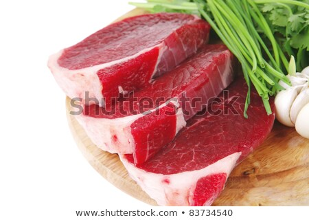 raw meat fresh beef pork fillet pieces on wood isolated over w stock photo © tetkoren