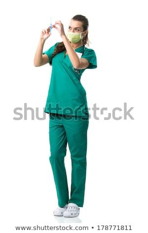 bastante · jovem · enfermeira · boca · máscara · injeção - foto stock © geribody