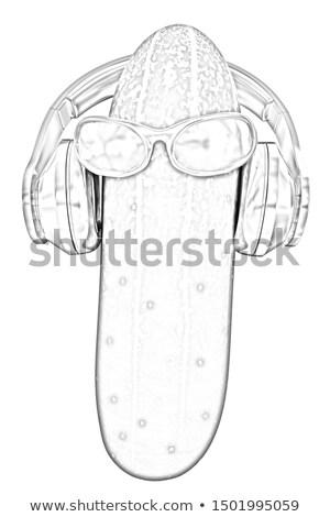 Komkommer zon glas hoofdtelefoon gezicht Stockfoto © Guru3D